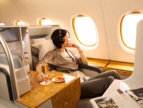Emirates A380 business class flat bed.