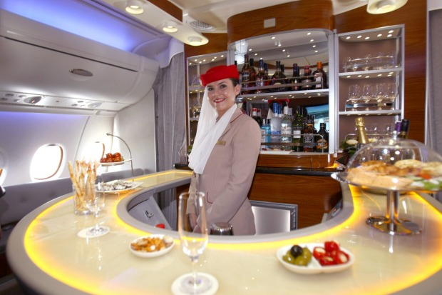 The bar for first class and business passengers on an Emirates A380 superjumbo.