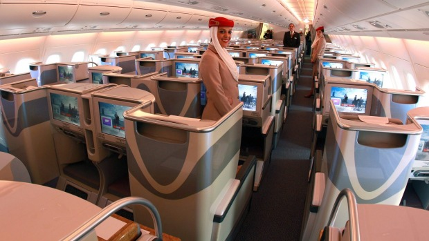 Business class of Emirates Airbus A380.