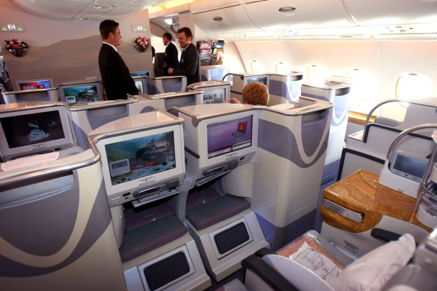 Business class on board of the Emirates Airbus A-380.