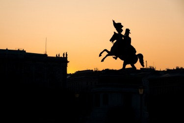 An impressive equestrian statue located in Heldenplatz, Vienna; the heroes square. A strong sense of grandeur and ...