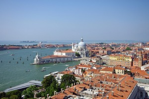 Venice viewed from St. Mark's Campanile on famous Basilica Santa Maria della Salute.