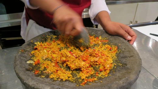Making Balinese spice mix (bumbu) at Mosaic restaurant in Ubud.