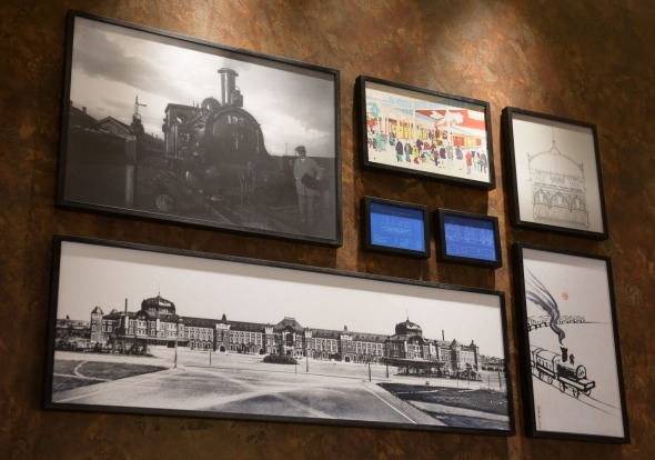 Pictures hang on the wall of the View Gold Lounge, operated by East Japan Railway Company and View Card, at Tokyo ...
