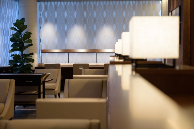 Furniture stands in the View Gold Lounge, operated by East Japan Railway Company and View Card at Tokyo Station in ...