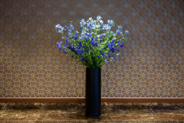 Arranged flowers sit on display on the View Gold Lounge, operated by East Japan Railway Company and View Card, at Tokyo ...