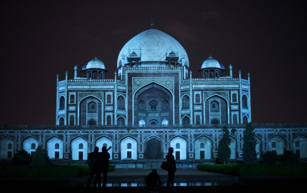 Humayun's Tomb was lit up in blue to mark World Autism Day in New Delhi, India on April 2, 2013.
