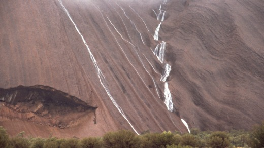 Water Cascading off Uluru.