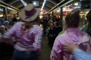 Line dancing at the Calcutta at the Outback Pioneer Hotel.