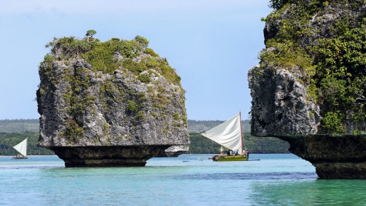 Boats in pristine New Caledonia waters.