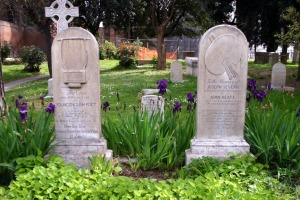 The graves of the English poet John Keats (1795-1821) and his friend, painter Joseph Severn (1793-1879).