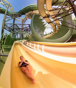 Slitherines: the worlds first duel waterslides within a waterslide at Aquaventure Waterpark.