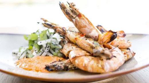 Prawns from wood fired oven at Wharf One.