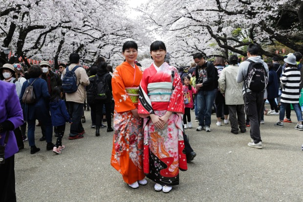 Ladies pose for portraits under the cherry blossoms trees at Ueno park in Tokyo, Japan.  During cherry blossom season ...