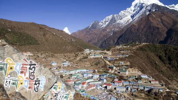 View over Namche Bazaar, the largest town in the Khumbu region.