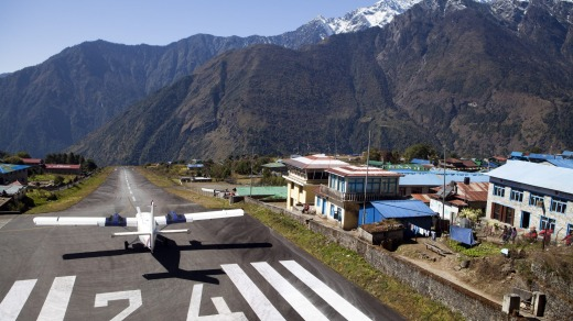 Lukla airstrip, the most common entry point into the Khumbu region.