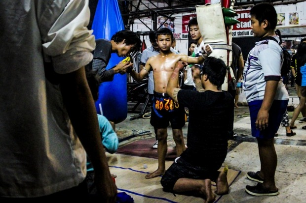 Chiang Mai, Thailand. Many children are recruited to start practicing Muay Thai from as young as seven years old. As ...