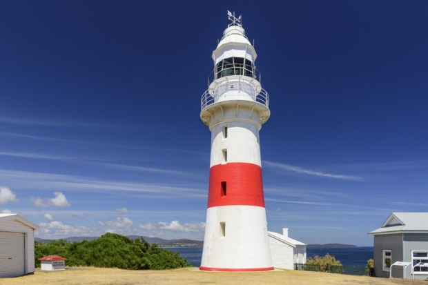 This picture was taken in January 2016 of Low Head Lighthouse at the east side of the mouth of the Tamar River in ...