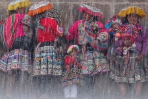 A sudden rain storm in Cusco Peru meant that everyone had to run for cover. I spotted these gorgeous women sheltering at ...