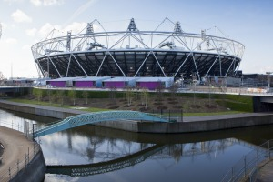 The Olympic Stadium with The Arcelor Mittal Orbit and the River Lee, London.