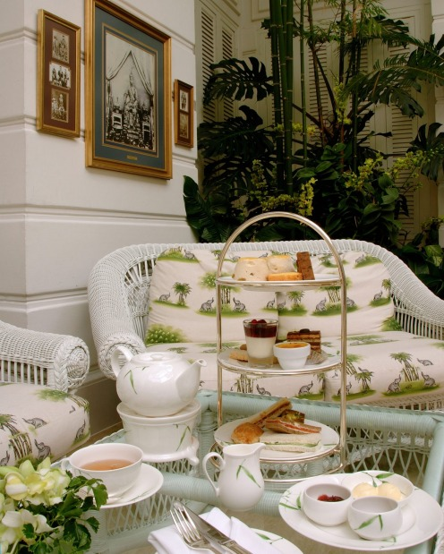 Afternoon tea with colonial charm: The Mandarin Oriental Hotel Bangkok, Thailand.