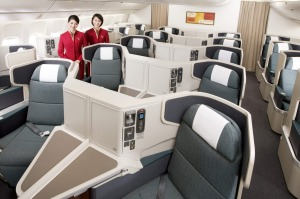 The business class cabin on the Cathay Pacific Boeing 777-300ER.