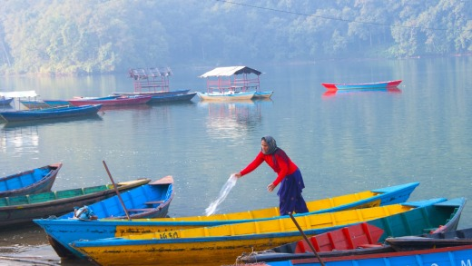 Colourful boats In Phewa Lake, Pokhara, Nepal.