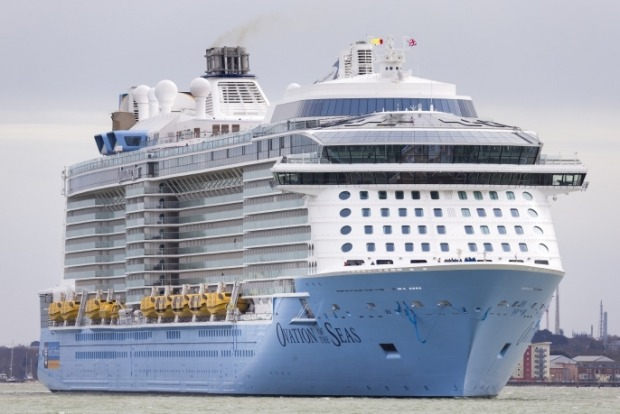 Ovation of the Seas arrives in Southampton, England to welcome her first guests before she heads to her homeport in ...