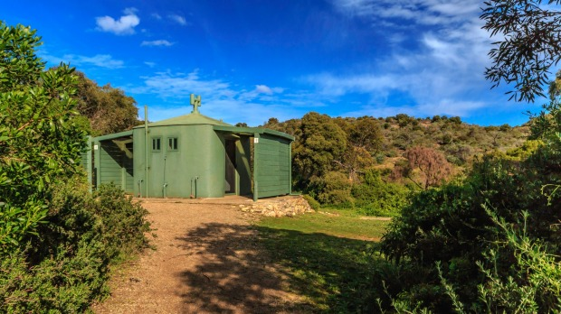Toilet block in the bushland camping area near Waitpinga Beach, South Australia.