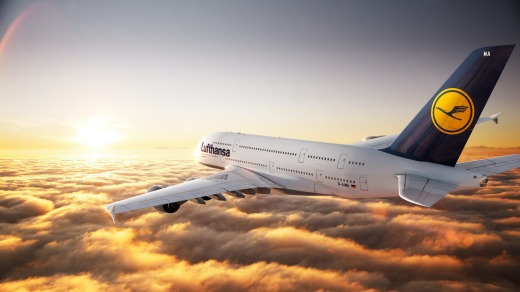 A computer-generated image of a Lufthansa A380 in flight.