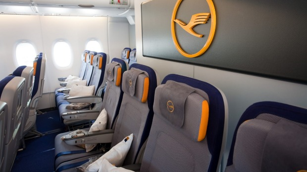 Lufthansa economy cabin on an A380-800.