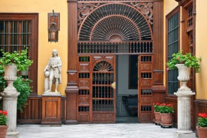 The front entrance to Casa Aliaga, the oldest house in the southern hemisphere.