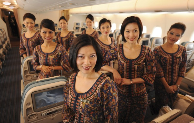 A group of Singapore Airlines flight attendants.