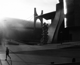 The Guggenheim Museum in Bilbao has so many different perspectives all through the day. Early morning joggers create ...