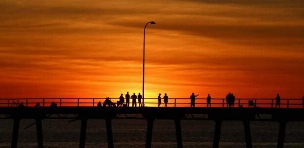 A friday night on Derby Wharf, WA. A sunset in July. Fisherfolk, grey nomads, kid's on bikes, blokes having a beer. I ...