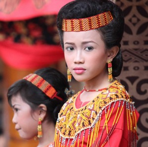 A young Torajan girl during a funeral ceremony indonesia.