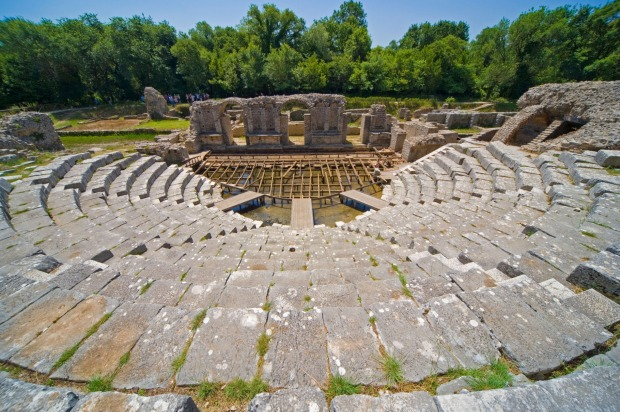 Butrint, Sarande, Albania: The amphitheatre in the ancient city of Butrint.