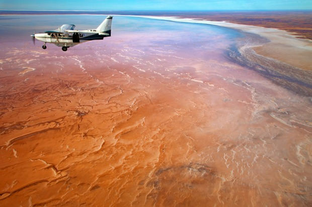 Flying over Lake Eyre.