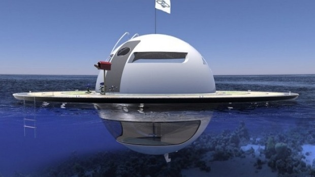 UFO Floating Pod Futuristic Underwater Sea Vessel That Looks Like A Flying Saucer