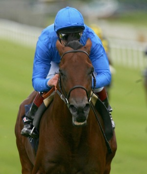 Finish in sight for Frankie Dettori and Dubawi at the Curragh, 2005.