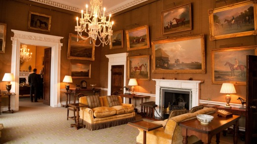 The Morning room with famous art collection , inside the Jockey Club.