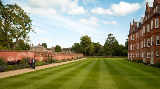 The gardens and lawn at the back of the Jockey Club, Newmarket Suffolk, UK.