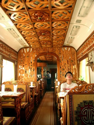 The dining car of the Trans-Mongolian Railway.