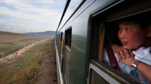 The Trans-Mongolian train leaves Ulaan Baator, Mongolia en route to Siberia, Russia.