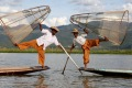 Inle Lake's fishermen have famously perfected the art of leg rowing since the 12th century.