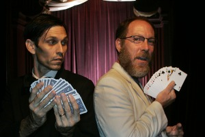 Now you see it: Dave Lovering, right, a former drummer for The Pixies who is now a magician, with Rob Zabrecky.