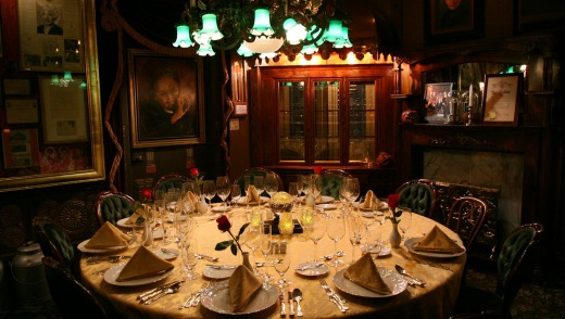 The table is set at the The Houdini Seance Room at The Magic Castle.