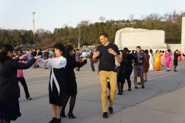 Dancing with the locals in North Korea.