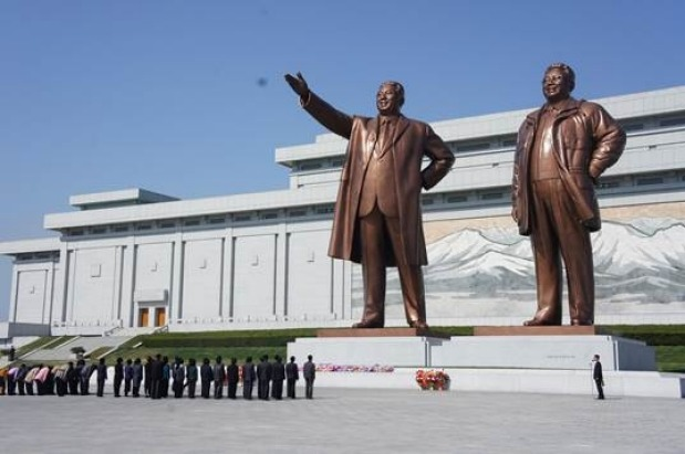 Bronze statues of late leaders Kim Jong Il and his father, Kim Il Sung, at Mansu Hill in Pyongyang, North Korea.