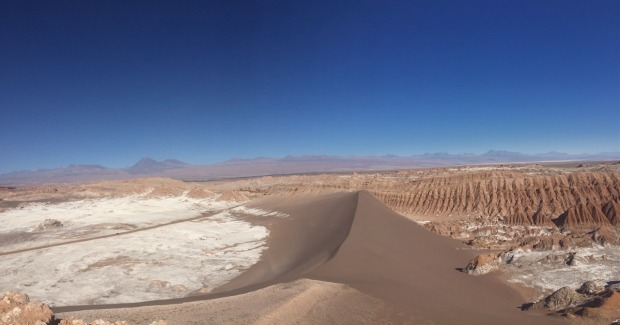 This photo was taken recently in the Valle de la luna, Chile. It felt strange looking out on a landscape that had no ...